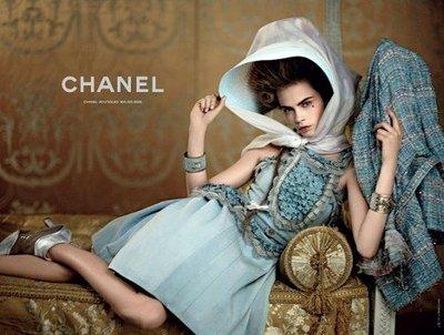 近全新 Chanel 夢幻走秀款香奈兒經典毛呢外套 水藍蕾絲