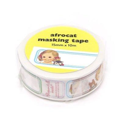 ❅PAVEE❅ 韓國afrocat~ Masking Tape 和紙膠帶~ 07 復古洋娃娃 姓名標籤