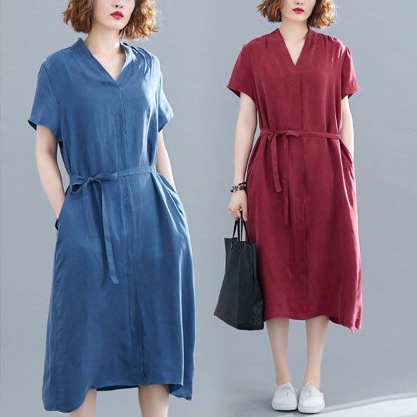短袖洋裝 ◎ 女人心語 ◎中大尺碼 簡約V領繫帶連身裙 (二色) 預 CK-BC-SK