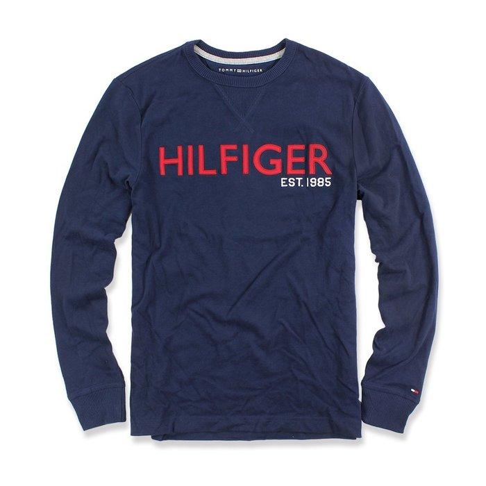 美國百分百【全新真品】Tommy Hilfiger T恤 TH 長袖 T-shirt logo 深藍 S號 I543