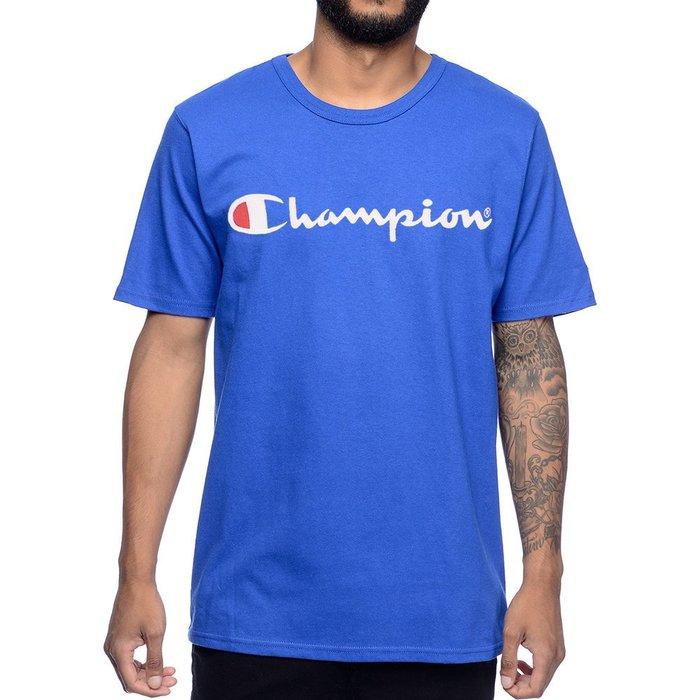 美國百分百【Champion】冠軍 T恤 短袖 T-shirt 電繡 草寫 logo 素T 高磅數 潮牌 寶藍 H152