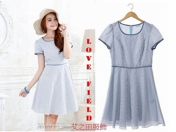 [萬商雲集] 全新 艾之田服飾 時尚典雅俏麗海洋風條紋小圓裙短袖洋裝 連身裙 上衣 L71041