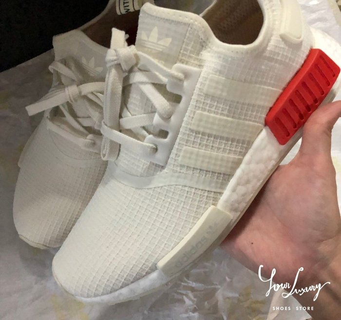 【Luxury】ADIDAS ORIGINALS NMD R1 白紅 紅白 全白 白色 格紋 限量 男女鞋 B37619