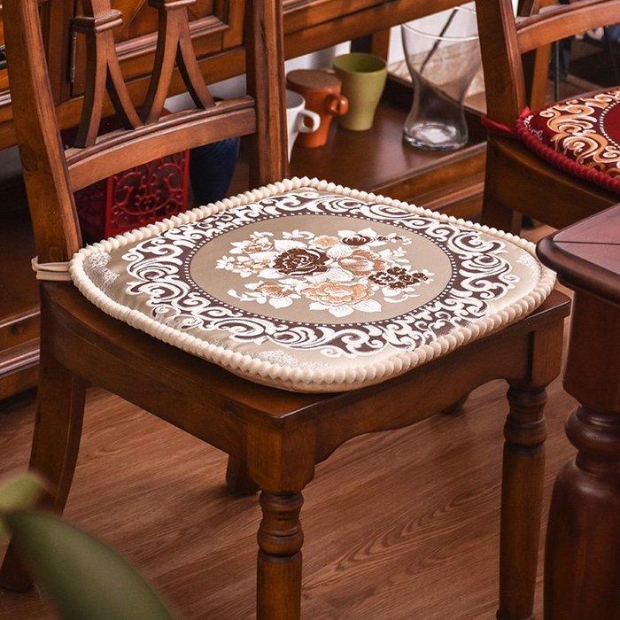 SX千貨鋪-提花座墊凳子墊子布藝歐式餐桌椅墊椅子墊子坐墊帶綁帶加厚可拆洗