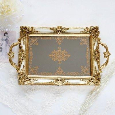 出口法國  象牙金雕花托盤鏡盤 珠寶首飾擺放 婚禮 宴會 開幕