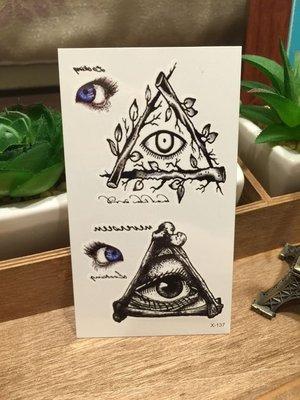 【萌古屋】全視之眼眼睛圖騰X-137 - 男女防水韓風簡約紋身貼紙原宿刺青貼紙