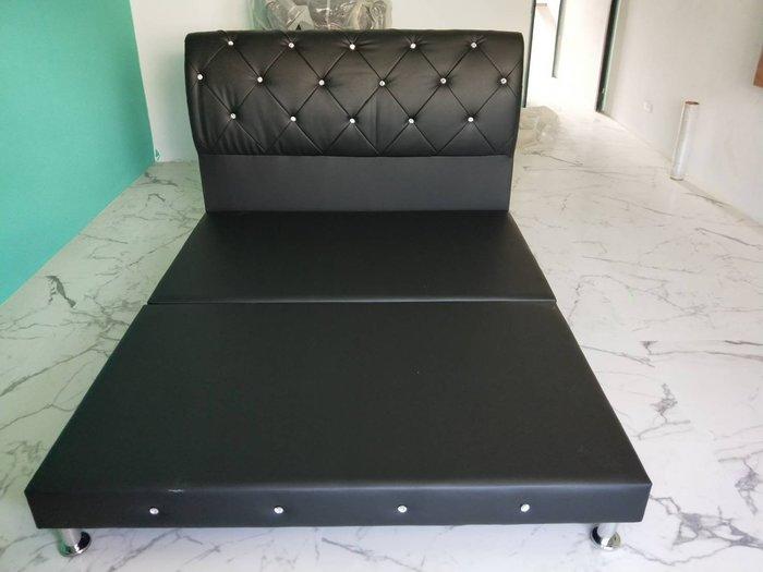 非凡二手家具 丹尼爾法式5尺珍珠黑水鑽床組*5x6.2尺*床架*床底*雙人床*寢具*床組*床箱