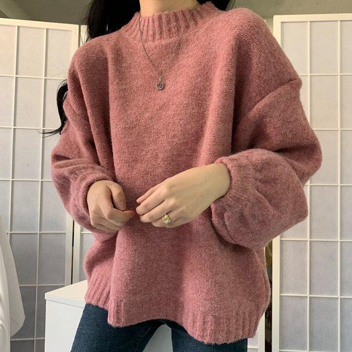 Maisobo 韓 秋冬 寬鬆慵懶加厚保暖立領毛衣 3色 TO2-921 預購