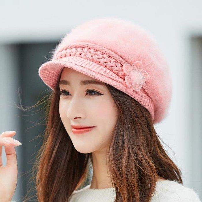 月子帽 毛線帽子女秋冬天加絨加厚針織帽護耳保暖鴨舌貝雷帽兔毛坐月子帽