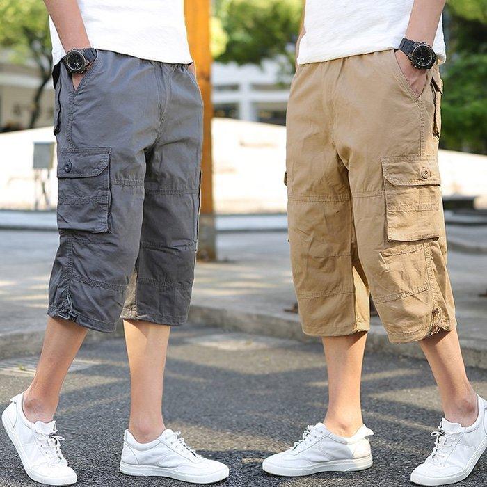 寬管褲 短褲 直筒褲 薄款加肥加大工裝褲男士寬松短褲純棉七分褲加大碼休閒褲男潮