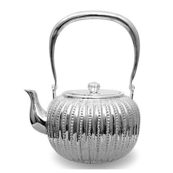 5Cgo【茗道】含稅會員有優惠  15878235257 手工日本銀壺純銀茶壺日式複古純銀燒水壺仿古紋圖磨砂亮白創意菱形