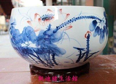 【凱迪豬生活館】手繪青花瓷魚缸/花盆/花瓶 景德鎮手繪陶瓷精品KTZ-201064