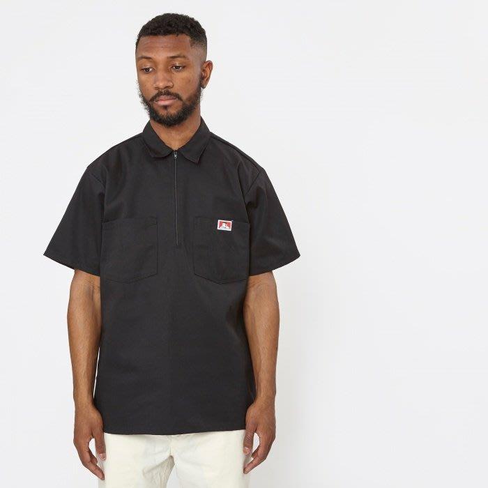 BEN DAVIS - 經典素面黑色布標小LOGO短袖工作拉鍊襯衫-熱狗 吳奕帆 頑童 嘻哈 工裝 DICKIES