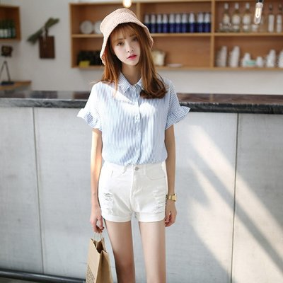 ❤Princess x Shop❤小清新海軍風條紋荷葉邊短袖襯衫DL19030612正韓洋裝一字領露肩性感