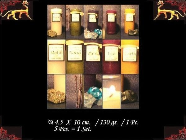 [ 風水 香氛蠟燭 大組 ]-陰陽五行 金 木 水 火 土 五種香氣-5個 一組盒裝$780.