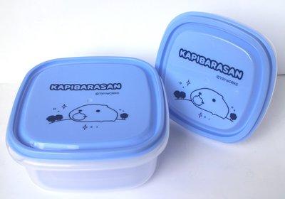 【卡漫迷】 水豚君 塑膠 保鮮盒 二入組 ㊣版 透明 麵包 收納盒 水果點心 餅乾 萬用盒 Kapibarasan