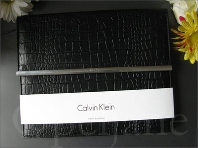 美國CK Calvin Klein卡文克萊黑色鱷魚皮紋真皮Ipad保護套/手拿包 免運費 愛Coach包包