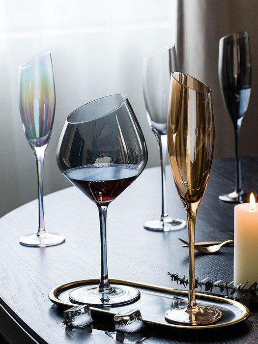 SX千貨鋪-幻夢斜口紅酒杯家用水晶杯玻璃雞尾酒杯香檳杯洋酒高腳杯#玻璃杯#酒杯#水杯#茶杯#杯子套裝