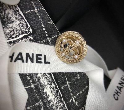 Chanel小香淡金圓型Logo珍珠戒指!品相超美亮晶晶 桃園市