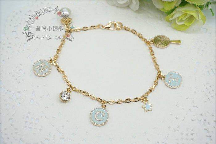 【首爾小情歌】NCT 韓國男團 周邊 珍珠吊飾玫瑰金色手鍊。藍色字母圓形 櫻桃 吊飾手環 手鍊 古典 飾品