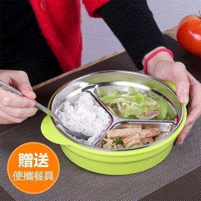 不鏽鋼飯盒 不鏽鋼碗 保溫快餐盒 密封餐盤 圓形三格分格便當盒 雙層隔熱飯盒 防燙學生便當盒 三格送餐具賣場