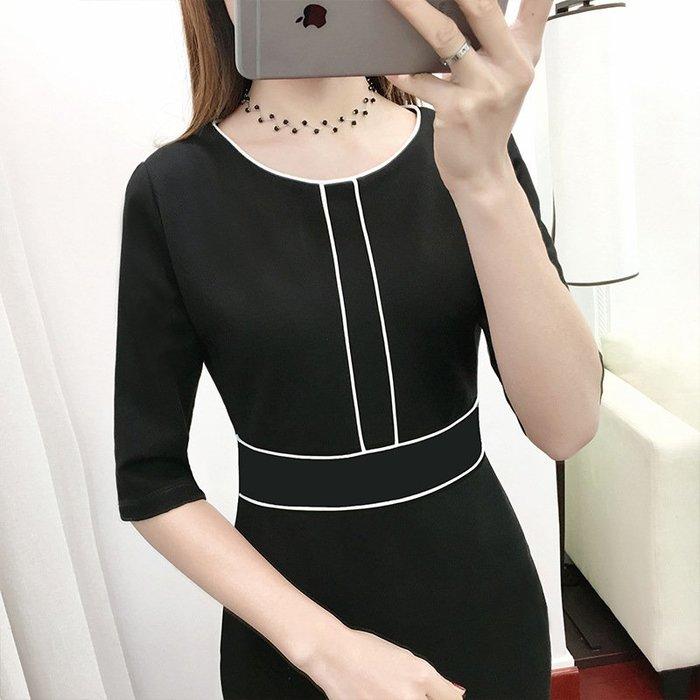 【私房款】修身名媛秋冬裙子連身裙新款黑色OL風長袖OL通勤