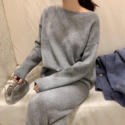 ACHIC┼時髦慵懶一字領羊毛針織衫 懶人服(可另搭套裝)~溫柔白,雅灰色