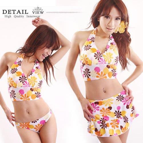 【免免線購 】花朵。深V領後綁荷葉裙3件組泳裝