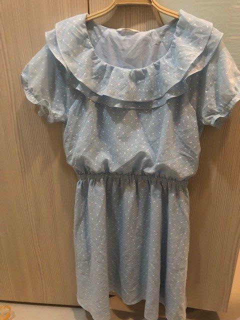 小花別針、【ma tsu mi】星星淡藍色綁帶連身裙