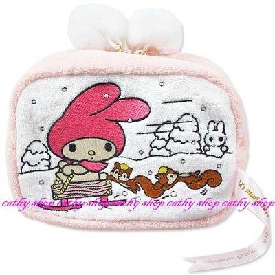 *凱西小舖*日本進口三麗歐正版美樂蒂&小松鼠雪世界系列毛巾布隨身收納/化妝包