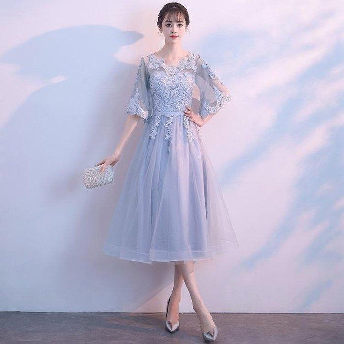 宴會晚禮服2019新款高貴優雅簡單大方顯瘦學生伴娘裙女中長款大碼Y-優思思