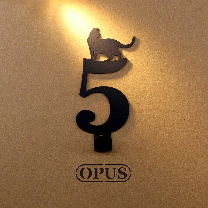 當貓咪遇上數字5《經典黑》壁飾掛勾 造型無痕掛鉤 居家收納 牆面裝飾壁掛【OPUS東齊金工】HO-nb12-5(B)