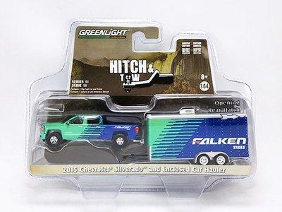 【秉田屋】現貨 Greenlight Chevrolet Silverado Falken Tire 拖車 1/64