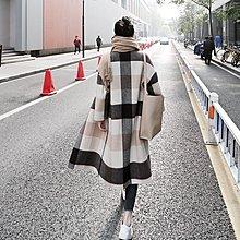 質感羊毛外套 大格紋加厚夾棉雙面羊絨毛呢大衣 艾爾莎【TAE8692】