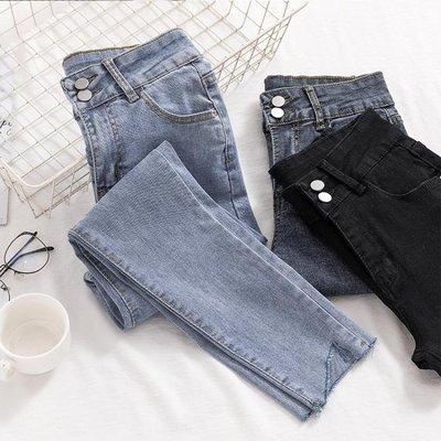 牛仔褲 女秋季新款韓版高腰緊身不規則褲腳淺色九分小腳鉛筆褲 -全