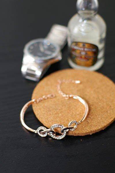 流行飾品~~時尚~維美簡約水鑽圓圈玫瑰金手鍊~手環