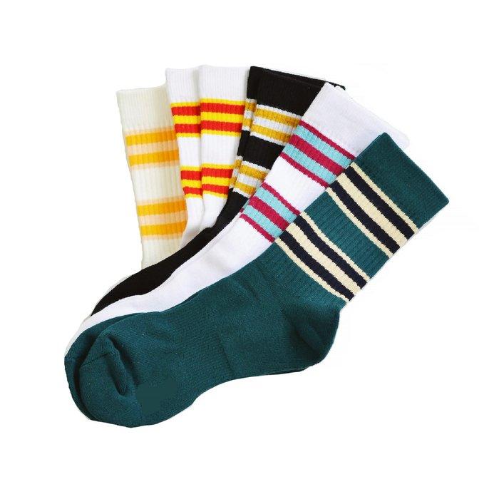 【 Wind 】厚實 日風 復古 雙條紋 中筒襪 強化鬆緊 足弓加強 不鬆 非毛巾襪 現貨