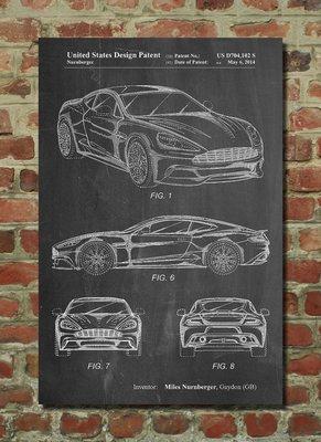[復古藝術海報] - 2014年 Aston Martin D89 (有現貨)跑車設計圖原型|奧斯頓 交通運輸 汽車