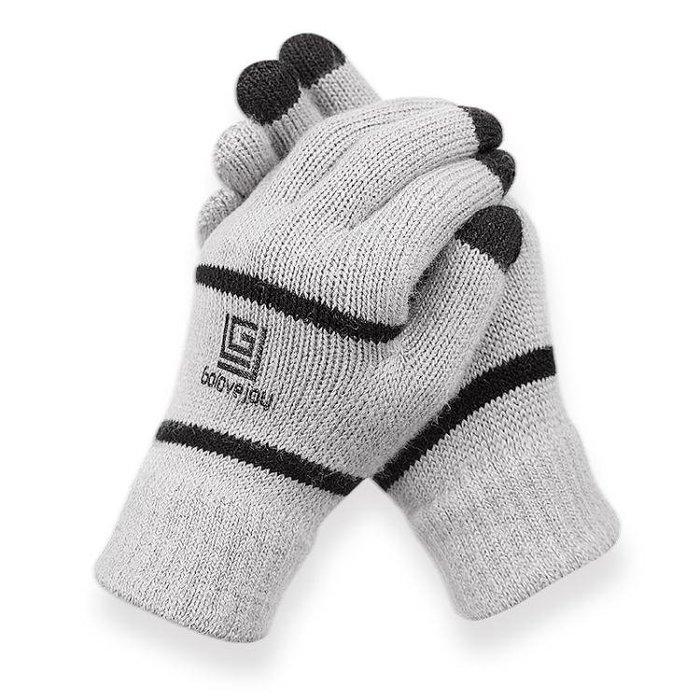 男手套 騎行手套 冬季可觸屏分指針織女韓版保暖毛線加絨加厚手套戶外運動手套yx654