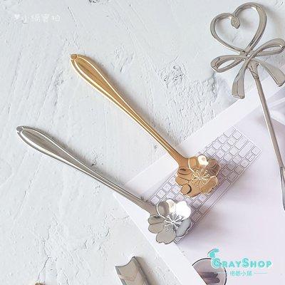 櫻花造型 攪拌勺《GrayShop》不鏽鋼咖啡勺 小湯匙 甜點勺 美食攝影  拍照道具 攝影道具