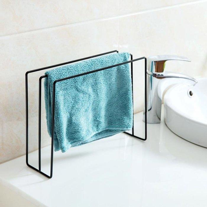 置物架 廚房毛巾架抹布架桌面立式鐵藝毛巾掛架免打孔浴室洗漱臺置物架TZ157