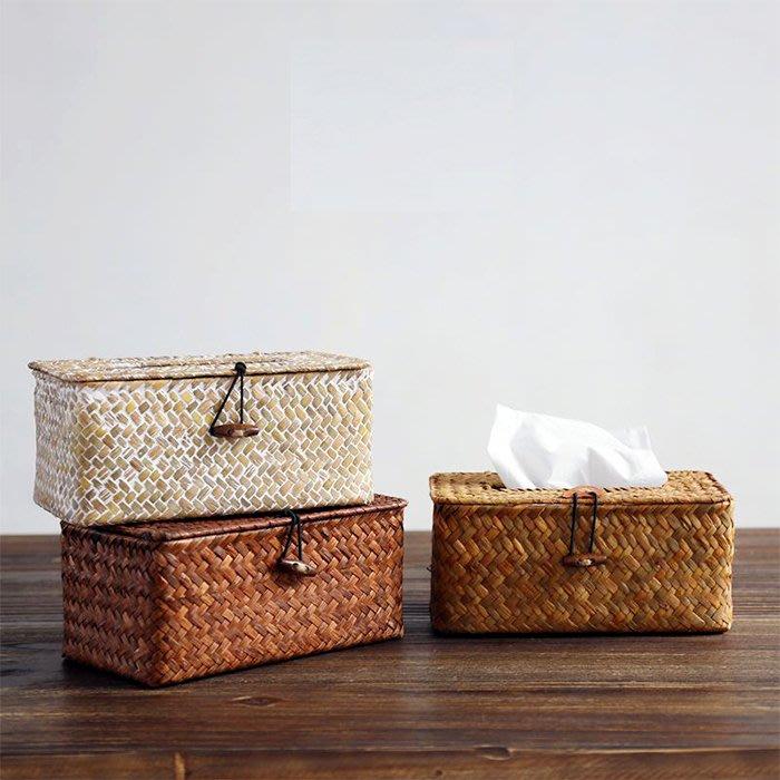 紙巾盒面紙盒 海島度假風手工草編收納盒 車用紙巾盒_☆找好物FINDGOODS ☆