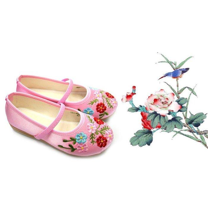 女童 精緻復古繡花鞋 漢服 表演 古裝 唐裝