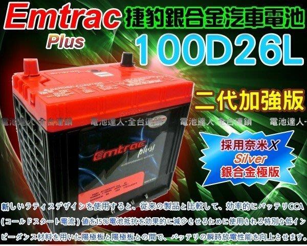 【電池達人】Emtrac 捷豹 銀合金 汽車電池 SONATA IX35 IX30 Q-RV ROGUE 100D26L