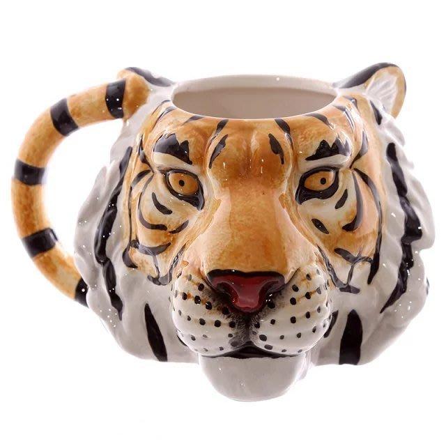 【奇滿來】豹缺貨 3D浮雕立體野生動物馬克杯 個性創意逼真動物 獅子犀牛豹子狼頭 手繪陶瓷咖啡 飲水杯 送禮 AUBU