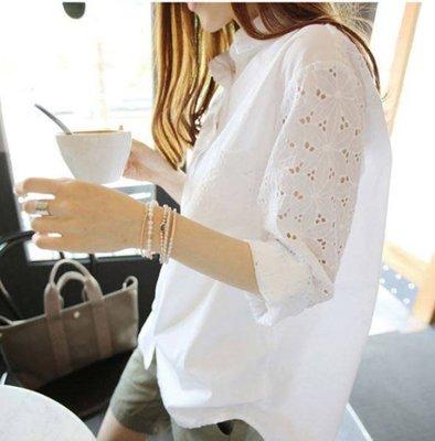 S-5XL蕾絲鏤空長袖襯衫【XGHB34539】