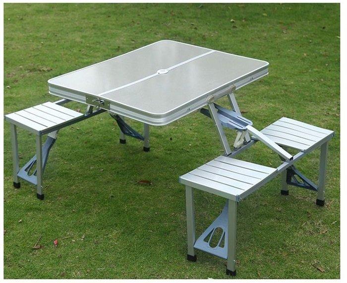 【阿LIN】178846 連體桌 LT-8016銀拉絲 鋁合金摺疊桌椅組 鋁合金戶外摺疊桌椅 便攜式折疊桌椅 連體摺疊桌