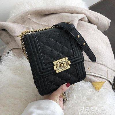 [免運]高級感洋氣包包女韓版時尚菱格錬條小方包百搭單肩側背包—印象良品
