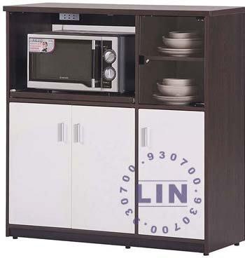 【品特優家具倉儲】045-10餐櫃收納櫃塑鋼微波爐架E-005胡桃