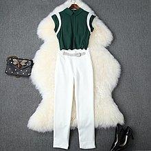 尹愛服飾((翻領無袖雪紡襯衫+高腰鑲鑽修身小腳褲套裝0954